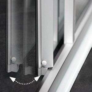 Das Bild zeigt die Magnettechnologie der Schiebetüren einer Dusche.