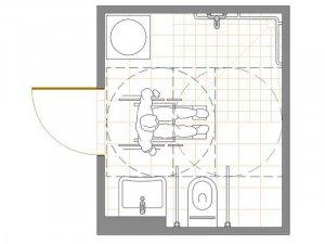 Die Grafik zeigt den exemplarischen Grundriss eines rollstuhlgerechten Bades