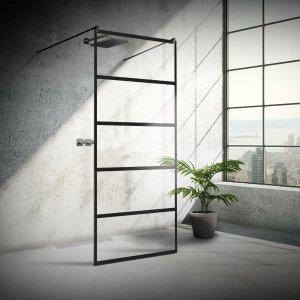 Das Bild zeigt eine freistehende Duschtrennwand in reduziertem Industrielook, der man ihre Funktion kaum noch ansieht.