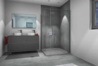 Aprejo Curve swing door on fixed part, profiles in concrete grey
