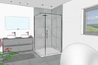 Aprejo Curve swing door with side panel, planning example