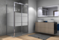 Drive 1.0 2-part sliding door with side panel barrier-free and with partial frosting, cenit-chrome