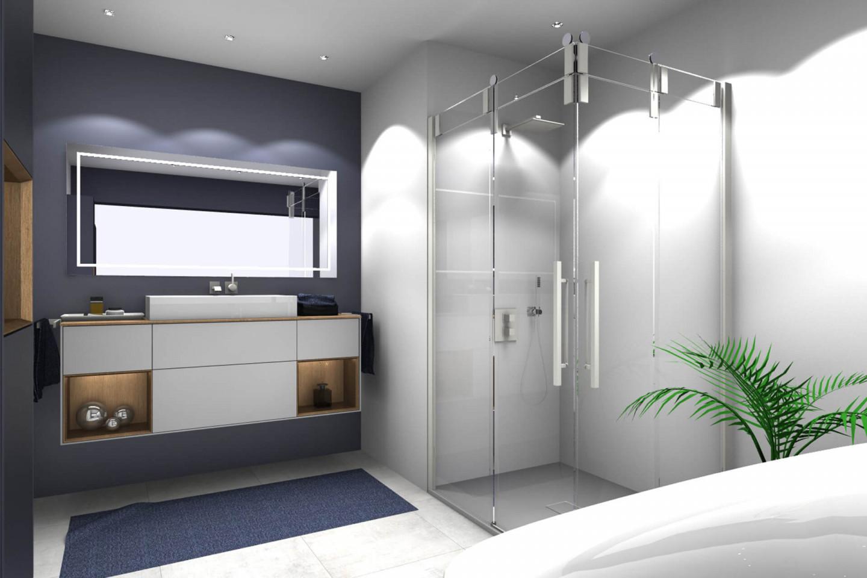 Piana Slide Vario corner cubicle, real glass, cream white
