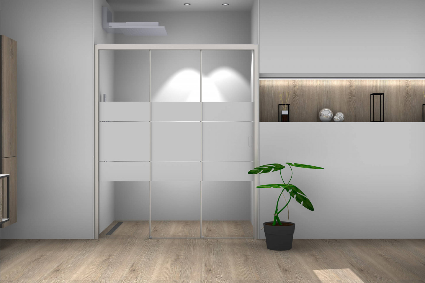 Piana X-Free 3-part sliding door in niche with partial frosting
