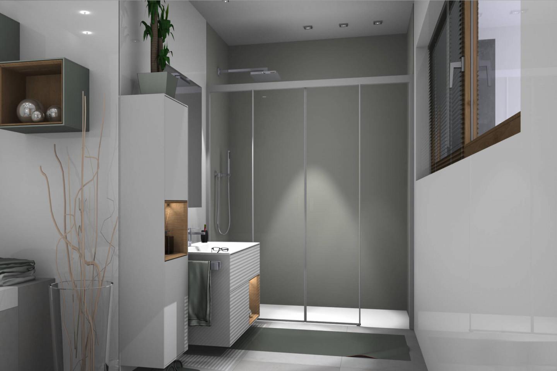 Piana X-Free 4-part sliding door in niche, light grey