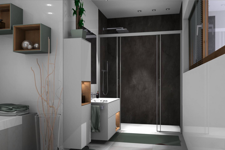 Piana X-Free 4-part sliding door in niche, deep grey