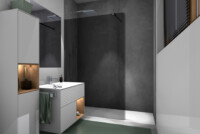 Walk-In Curve partition wall, grey tinted with Re-Cover, deep grey